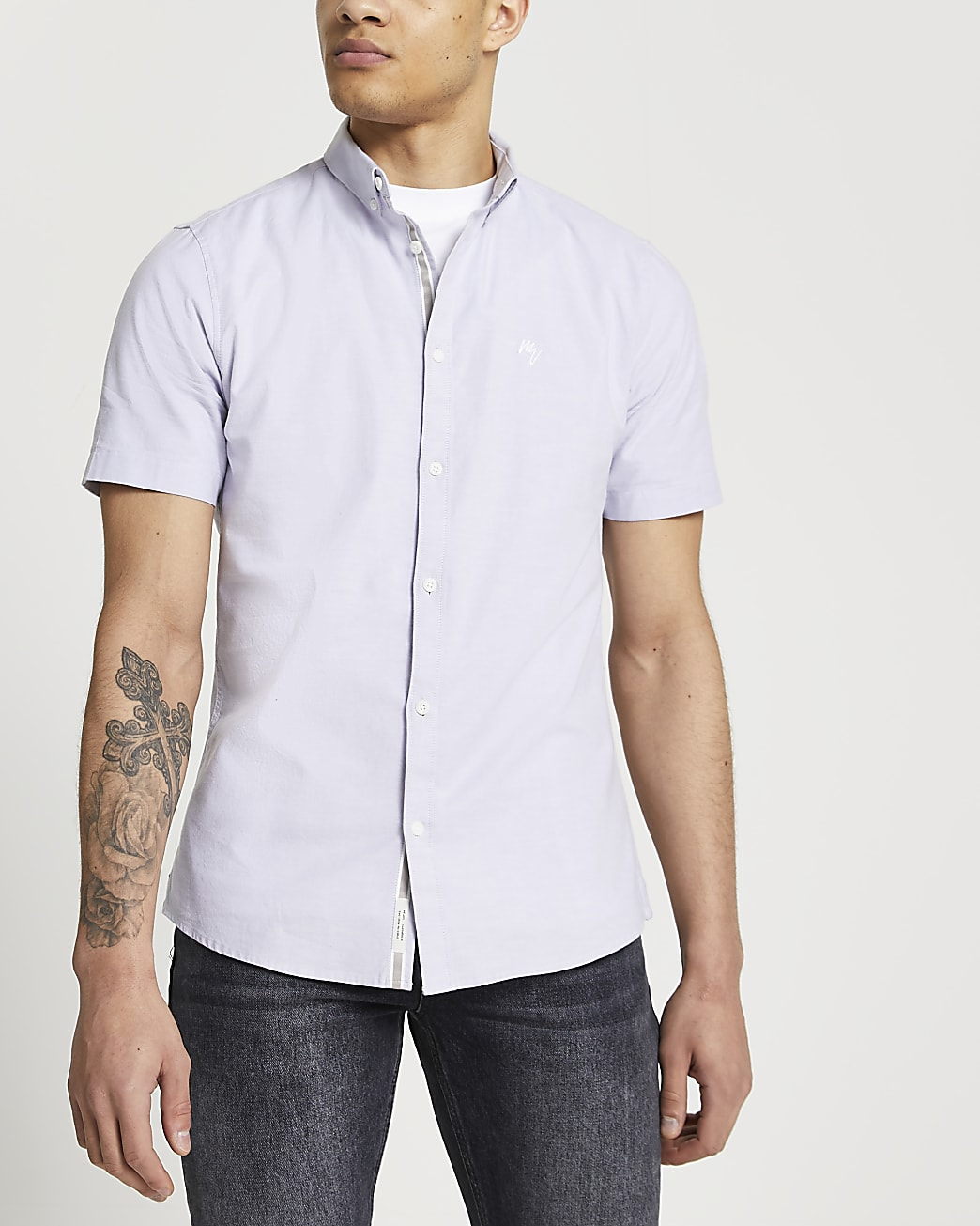 Maison Riviera purple slim short sleeve shirt
