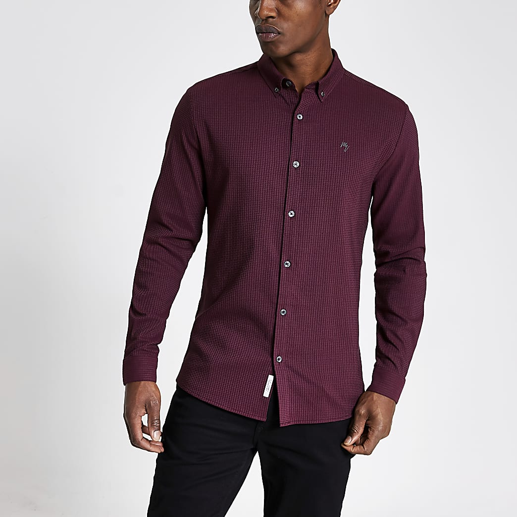 Maison Riviera - Rood geruit slim-fit overhemd