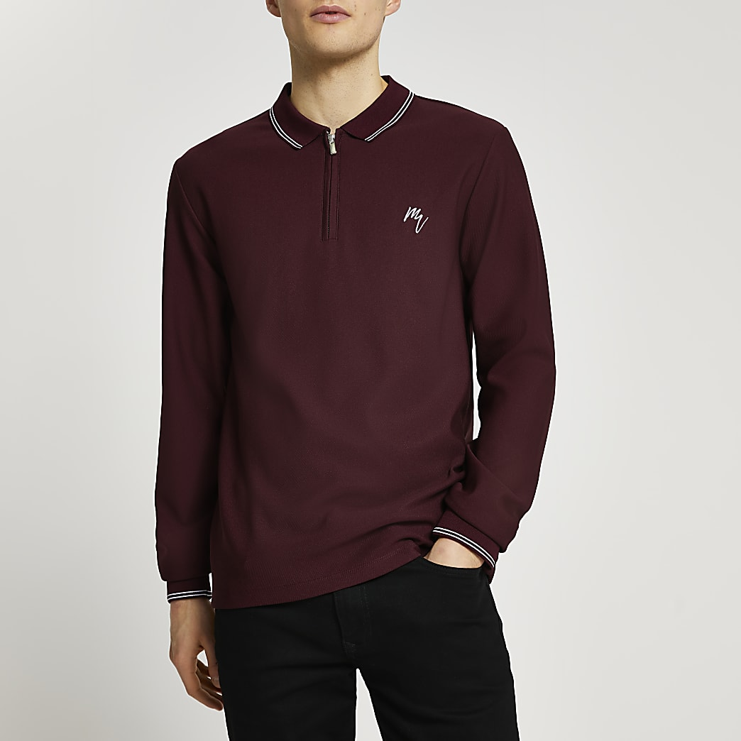 Maison Riviera red slim fit polo