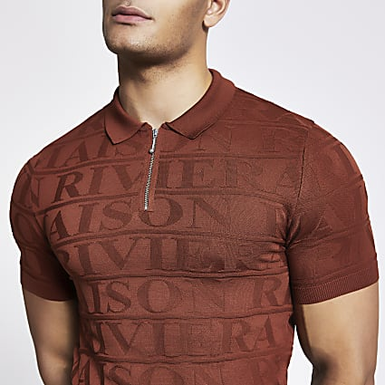 Maison Riviera rust muscle fit polo shirt