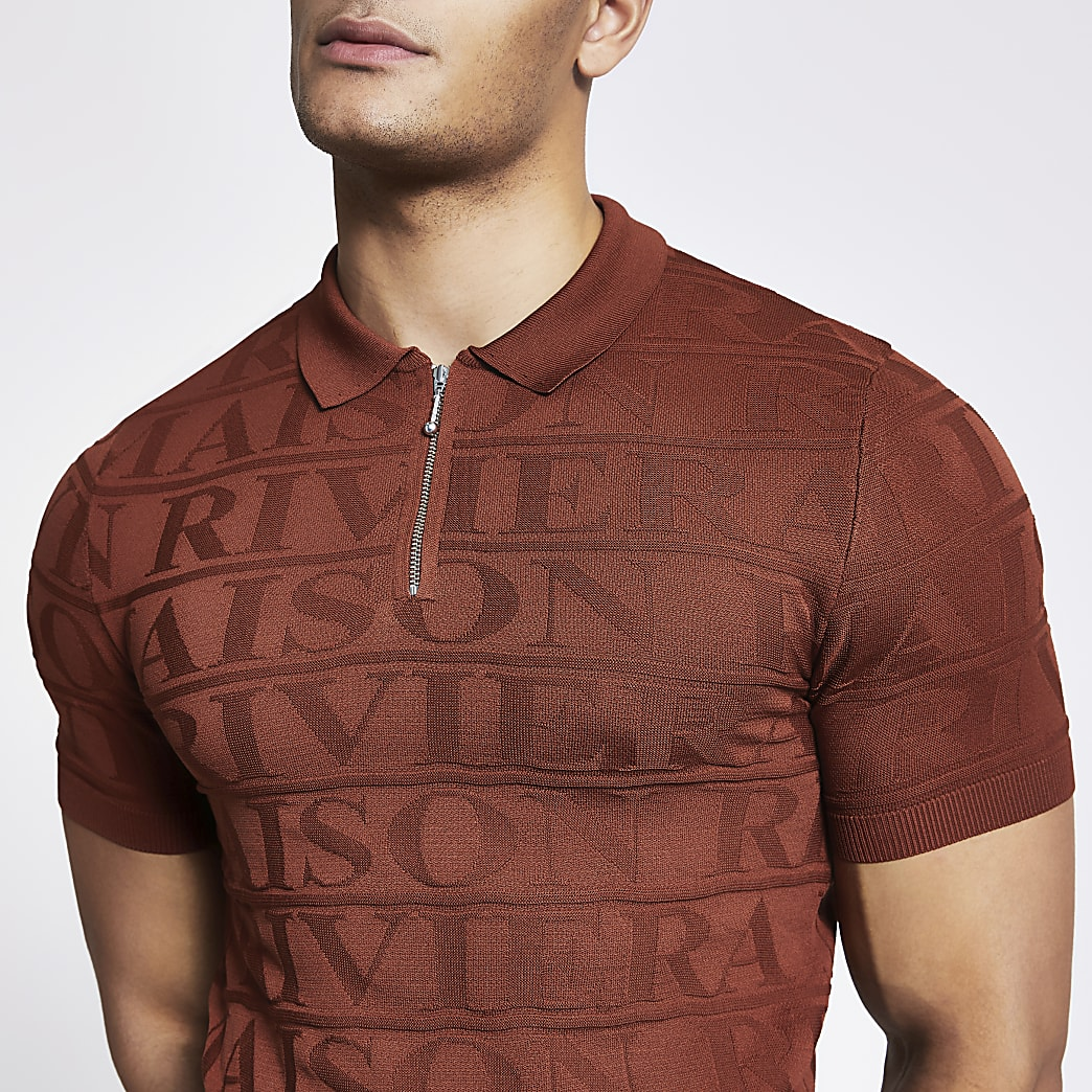 Maison Riviera - Roestkleurig muscle fit poloshirt