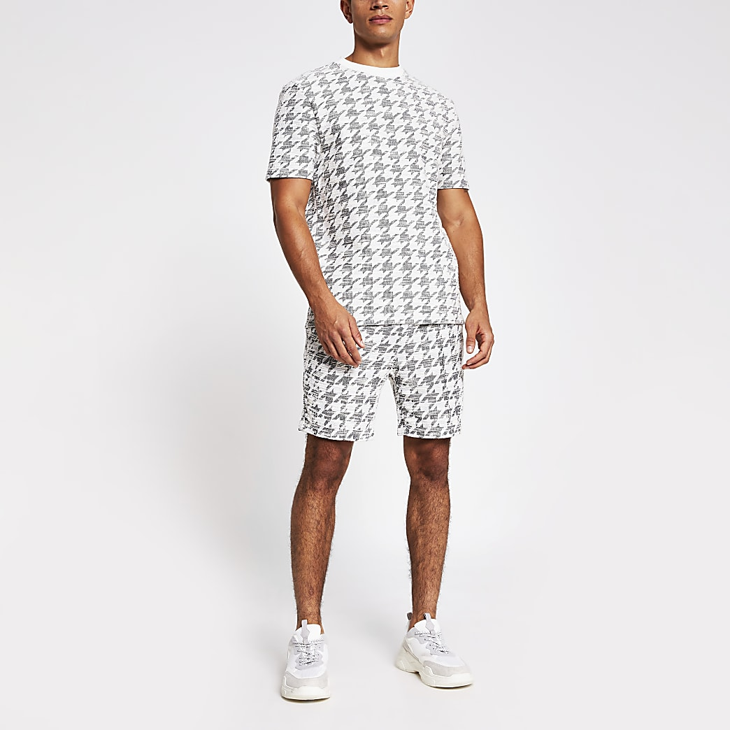 Maison Riviera slim fit dogtooth check shorts