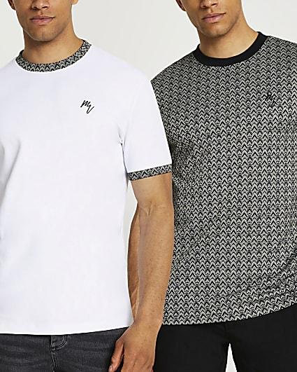 Maison Riviera slim jacquard t-shirts 2 pack