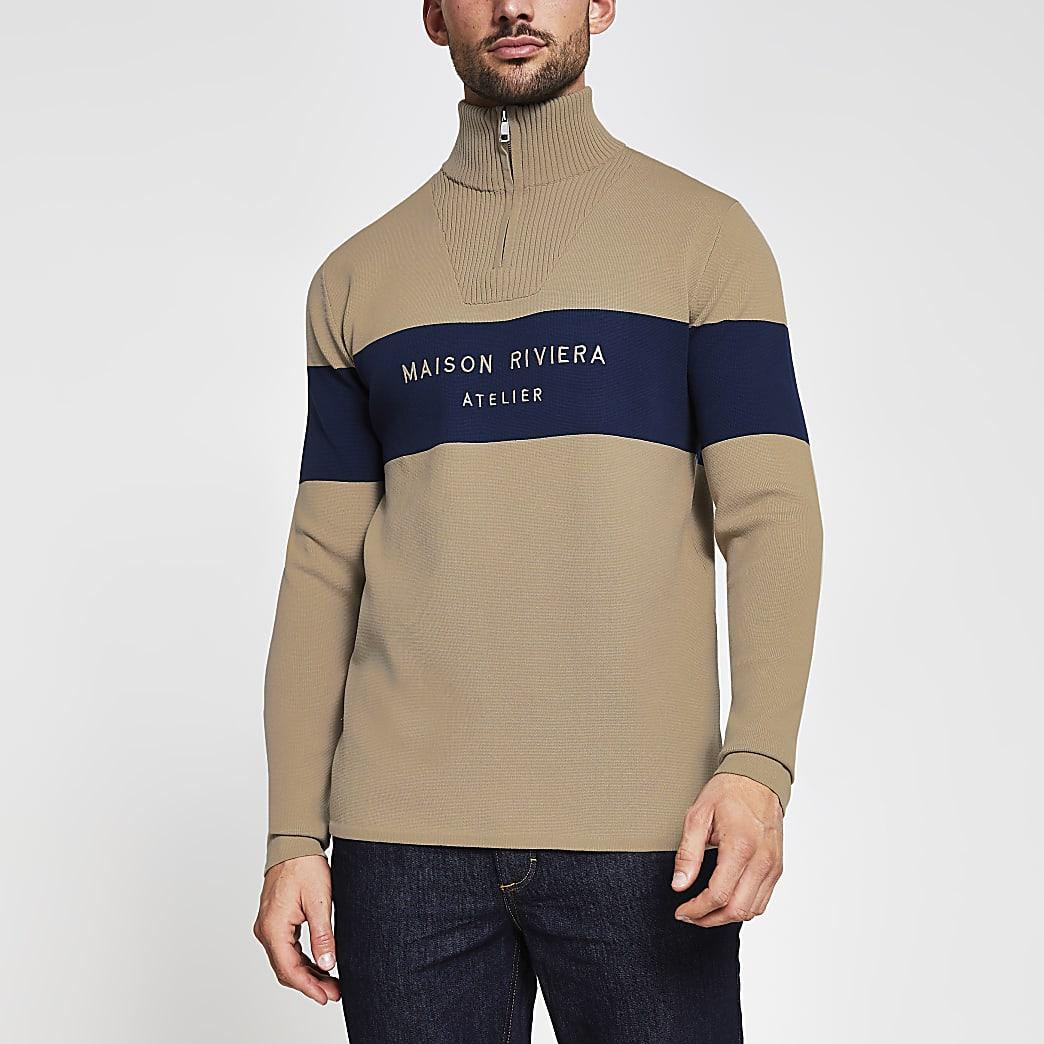 Maison Riviera stone 1/2 zip jumper