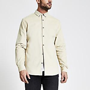 Maison Riviera - Kiezelkleurig corduroy overhemd