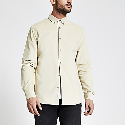 Maison Riviera stone corduroy shirt