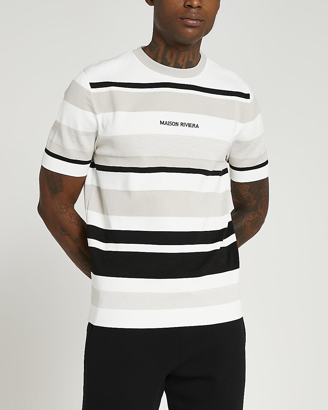 Maison Riviera stone slim fit stripe t-shirt