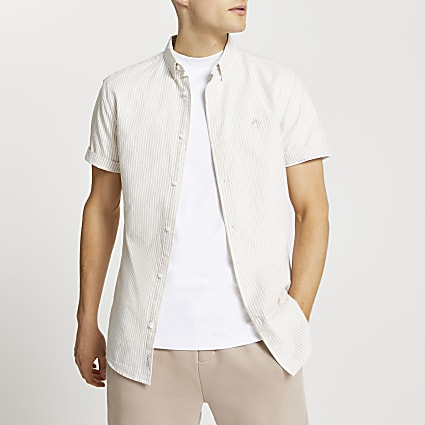 Maison Riviera stone slim short sleeve shirt