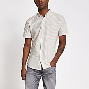 Maison Riviera – Steingraues Slim Fit Hemd mit Streifenmuster