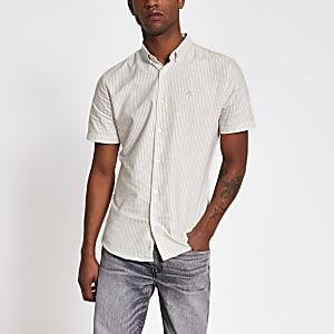 Maison Riviera - Kiezelkleurig gestreept slim-fit overhemd