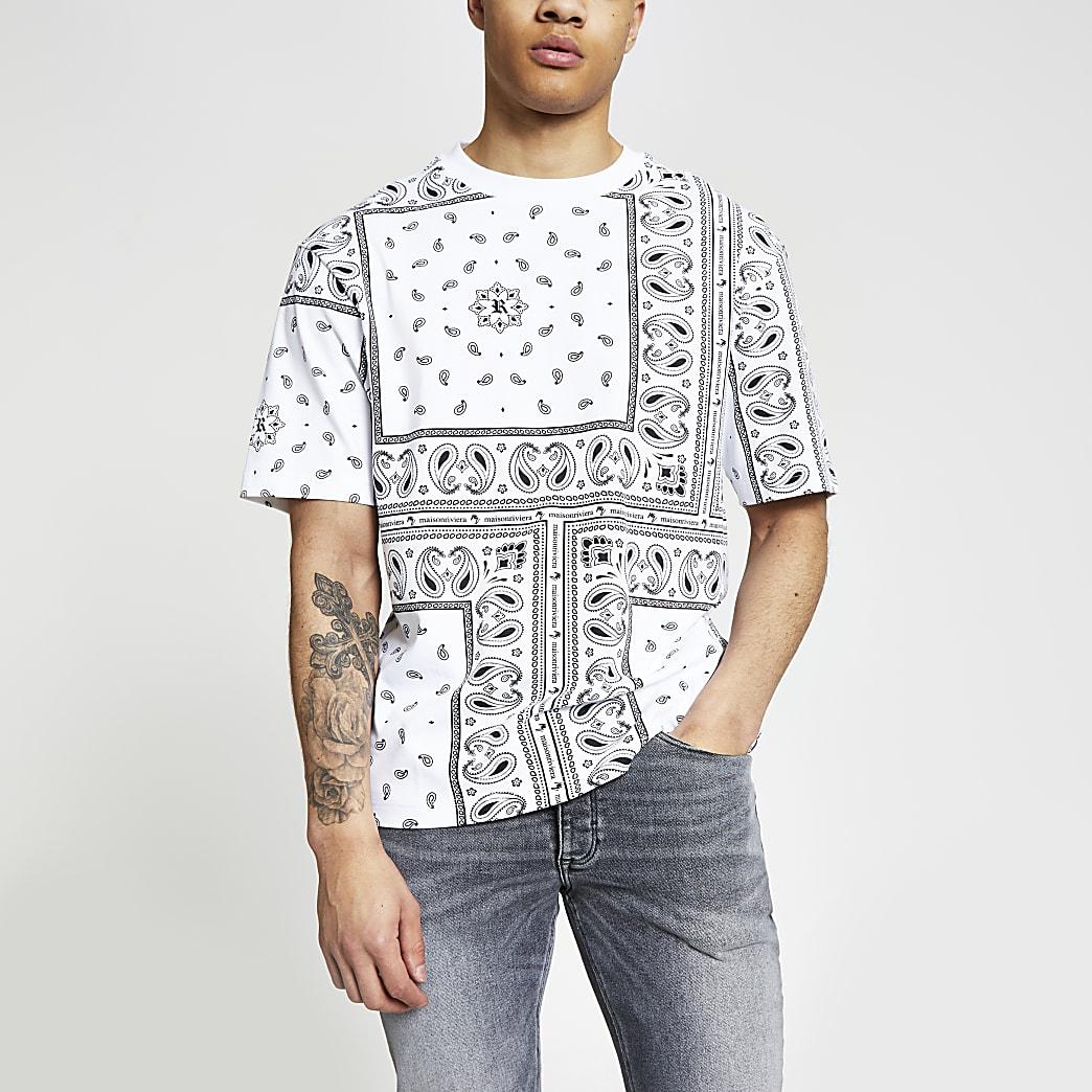 Maison Riviera- Wit box-fit bandana T-shirt
