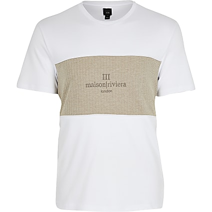 Maison Riviera white block slim fit T-shirt