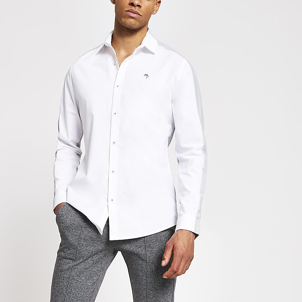 Maison Riviera - Wit slim-fit overhemd met kleurvlakken