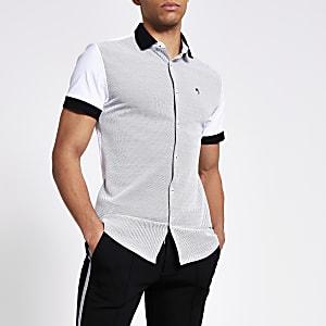 Maison Riviera – Chemise slim blanche colourblock