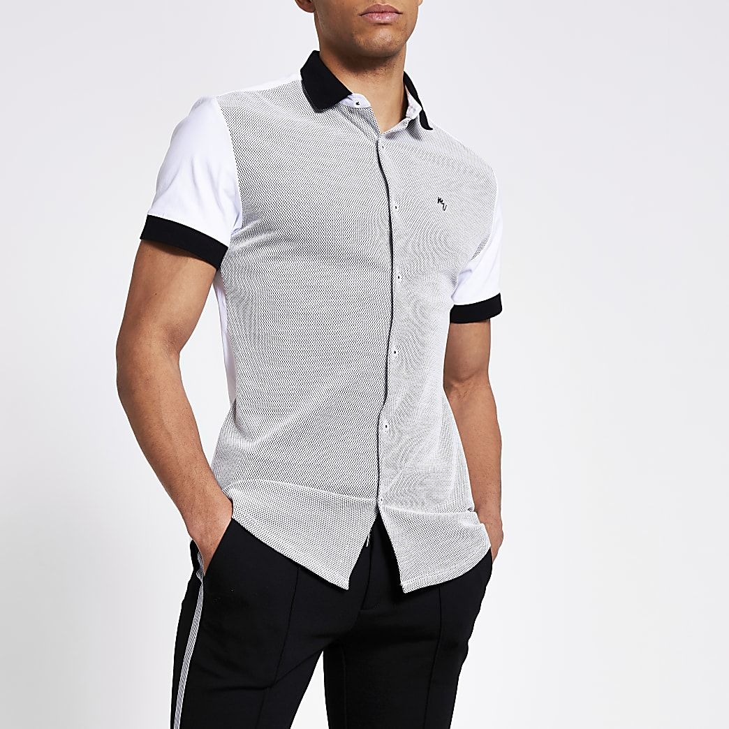 Maison Riviera white blocked slim fit shirt