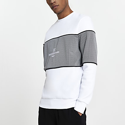Maison Riviera white blocked slim sweatshirt