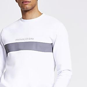Maison Riviera – Weißes Sweatshirt in Blockfarben