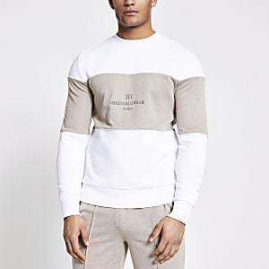 Maison Riviera – Sweat blanc colour block