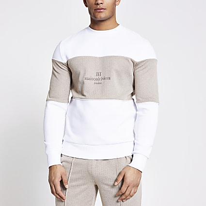 Maison Riviera white blocked sweatshirt