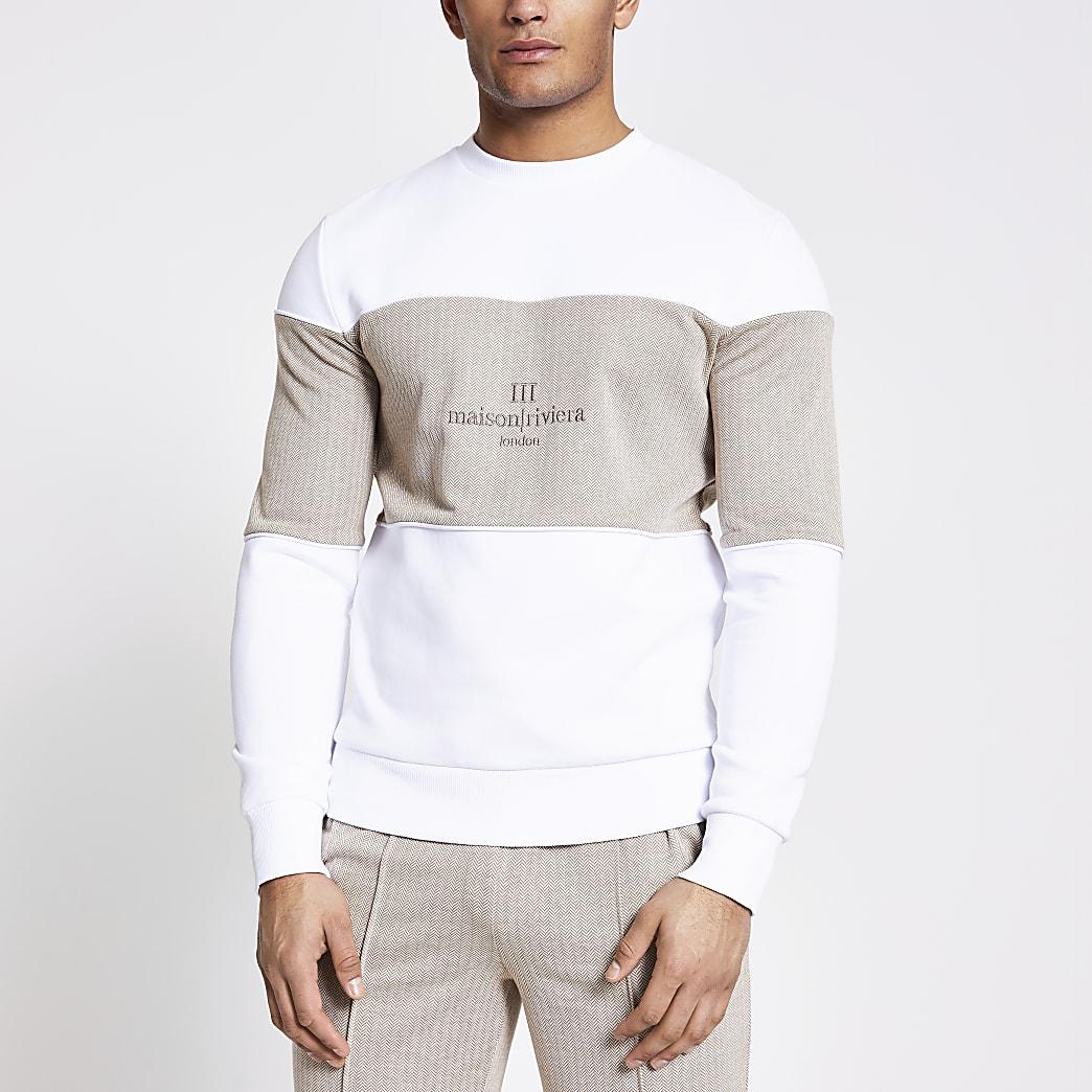 Maison Riviera - Witte sweater met kleurvlakken