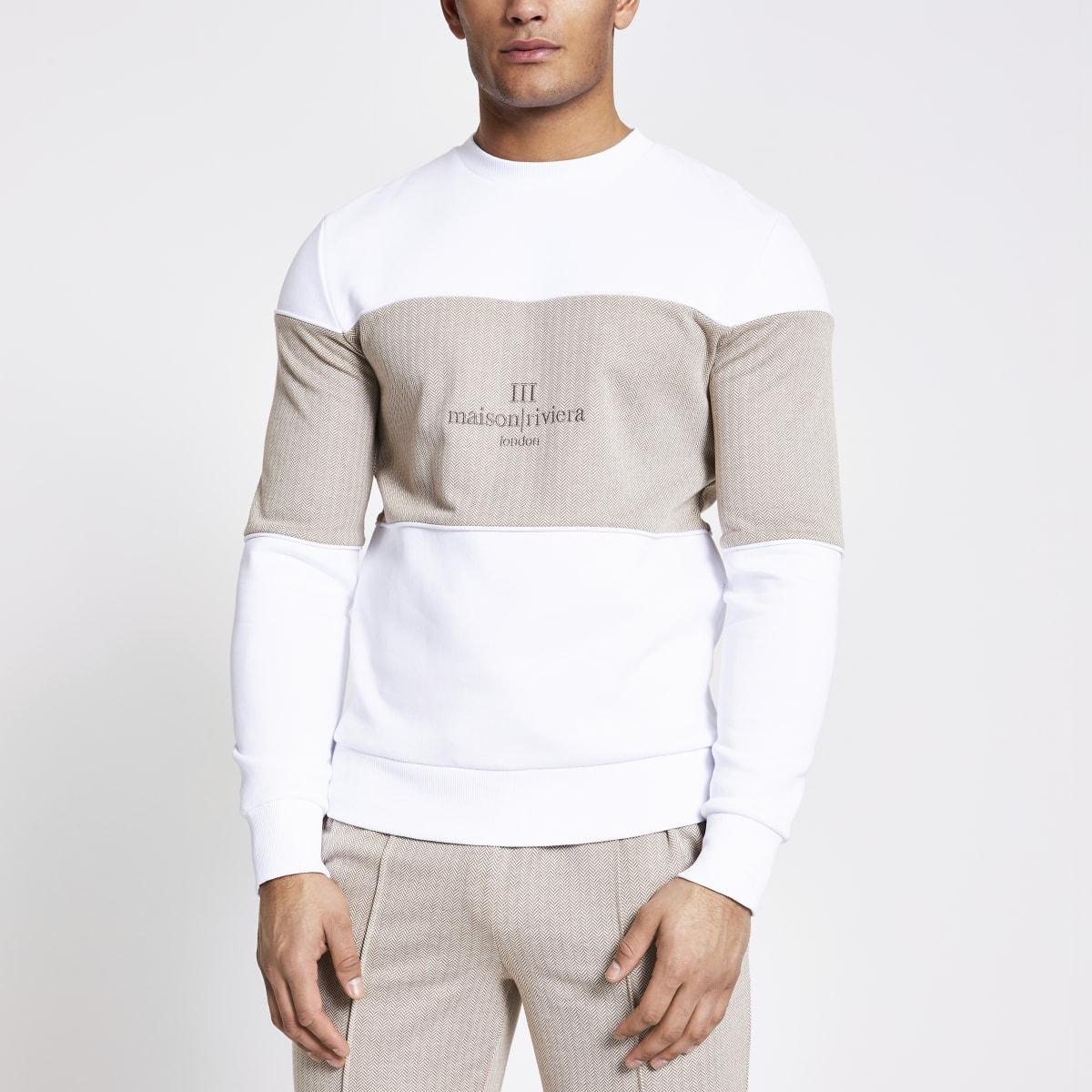 Maison Riviera white blocked sweatshirt