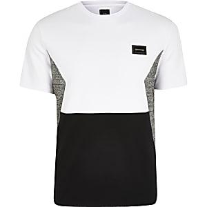 Maison Riviera – Weißes T-Shirt mit Karoabschnitt