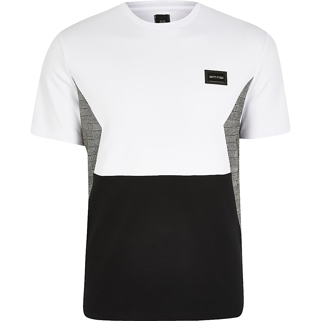 Maison Riviera - Wit geruit T-shirt met kleurvlakken