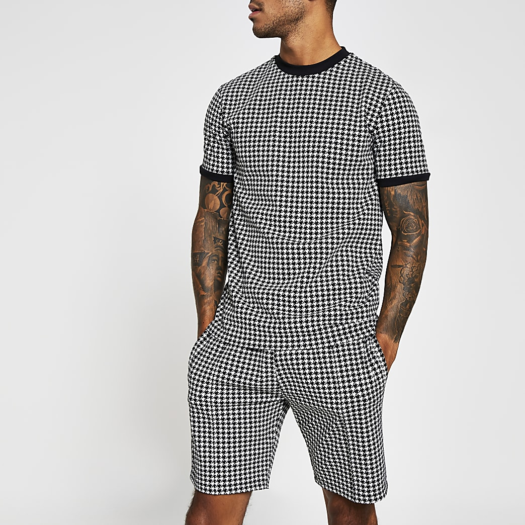 Maison Riviera white check slim fit T-shirt