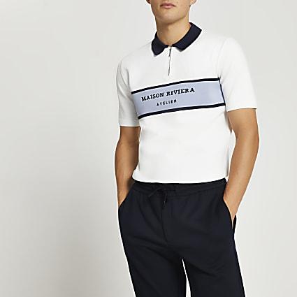 Maison Riviera white colour block polo shirt