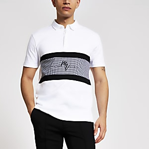 Maison Riviera– Poloshirt in Weiß mit Hahnentritt-Muster