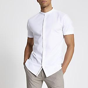Maison Riviera– Chemise à col grand-père blanche
