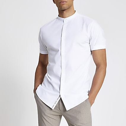 Maison Riviera white grandad slim fit shirt