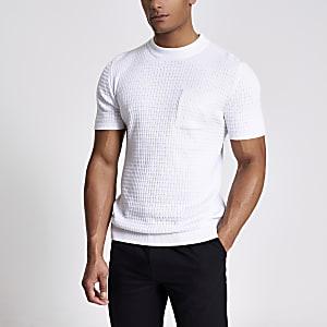 Maison Riviera – Weißes T-Shirt aus Strick mit Brusttasche