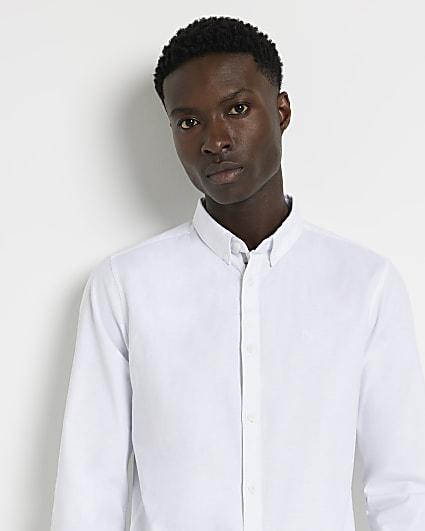 Maison Riviera white long sleeve Oxford shirt