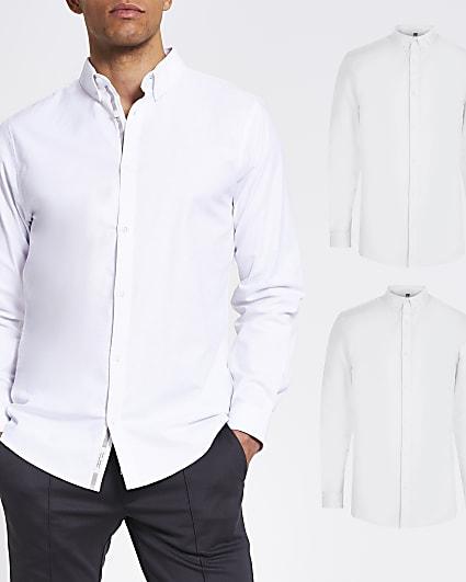 Maison Riviera white long sleeve shirt 2 pack