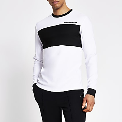 Maison Riviera white mono long sleeve T-shirt