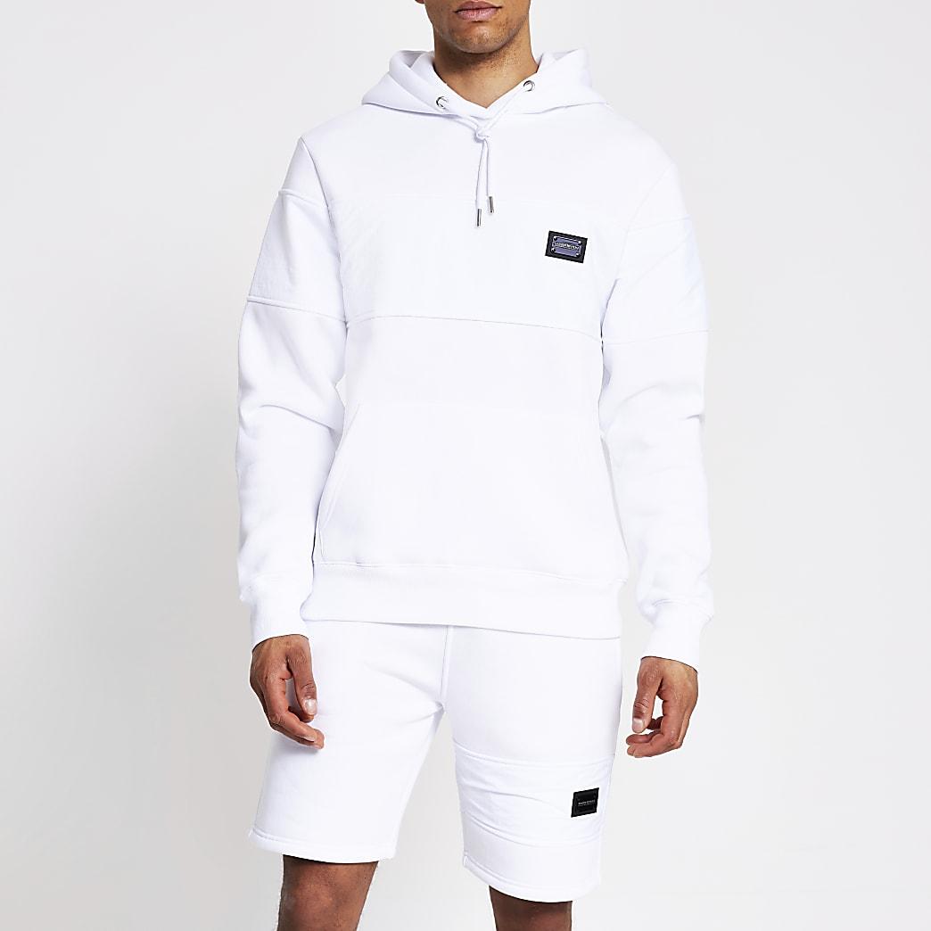 Maison Riviera - Witte nylon hoodie met kleurvlakken