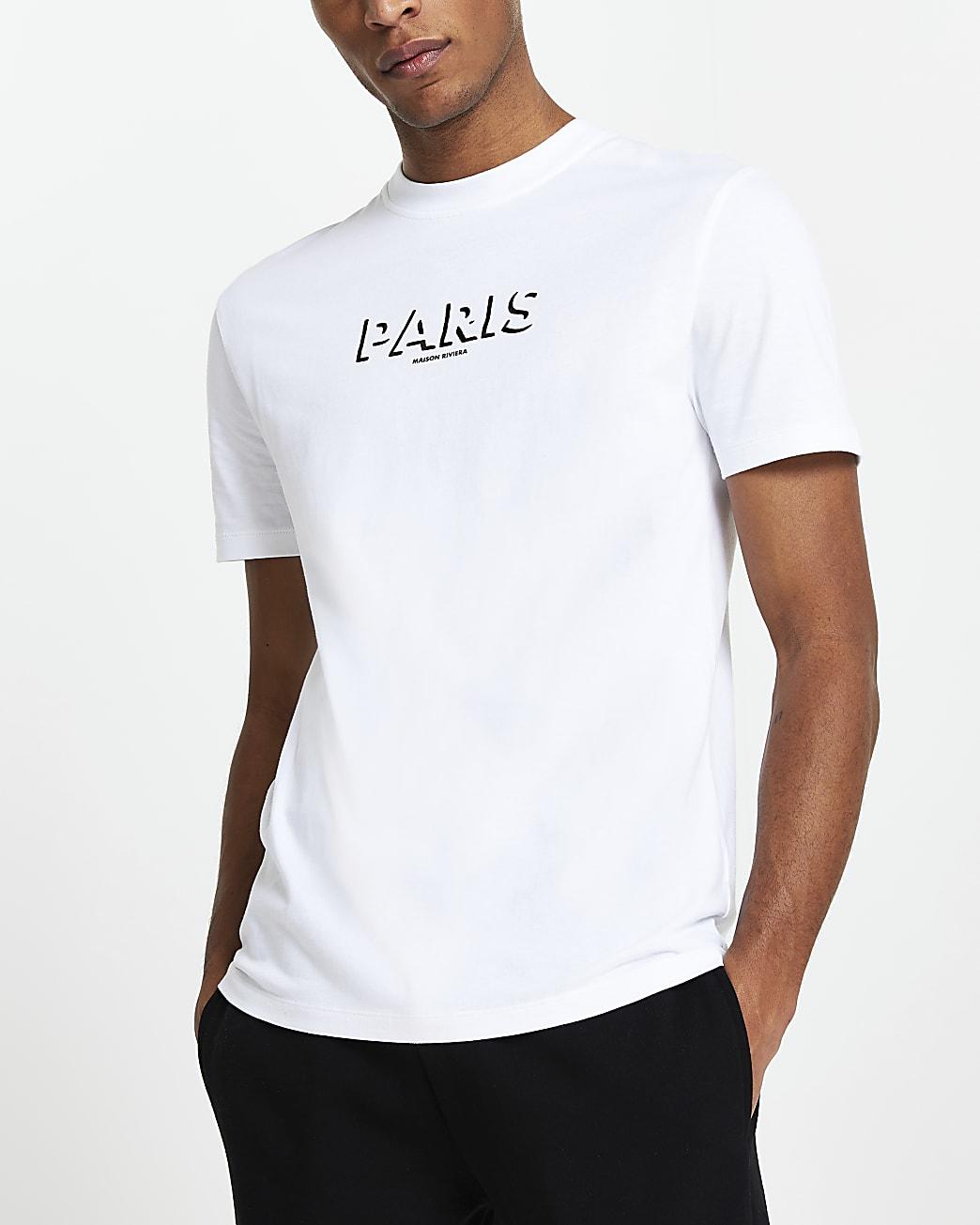 Maison Riviera white slim fit graphic t-shirt