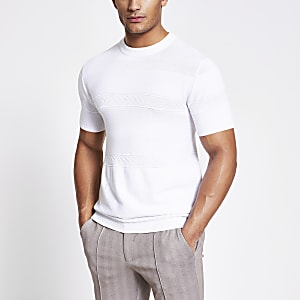 Maison Riviera - Wit gebreid slim-fit T-shirt