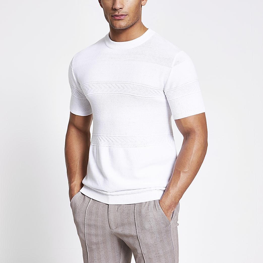Maison Riviera- Wit gebreid slim-fit T-shirt