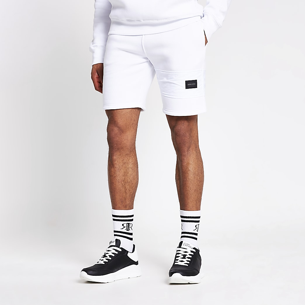 Maison Riviera white slim fit nylon shorts