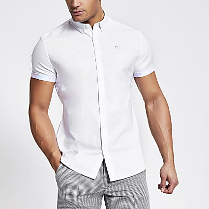 Maison Riviera white slim fit Oxford shirt