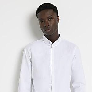 Maison Riviera – Weißes Slim Fit Oxford-Hemd
