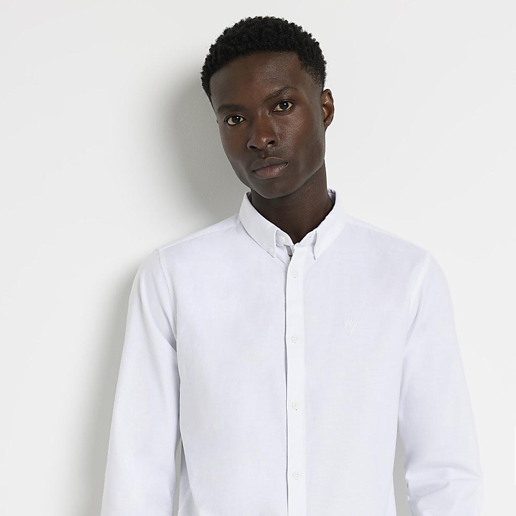 Maison Riviera - Wit slim-fit Oxford overhemd