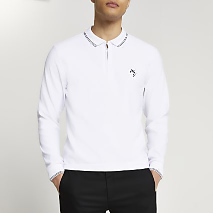 Maison Riviera White slim fit polo