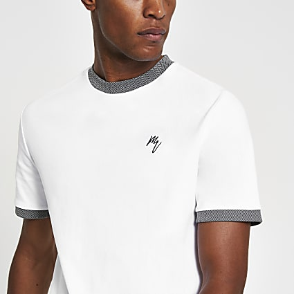 Maison Riviera white slim fit ringer T-shirt