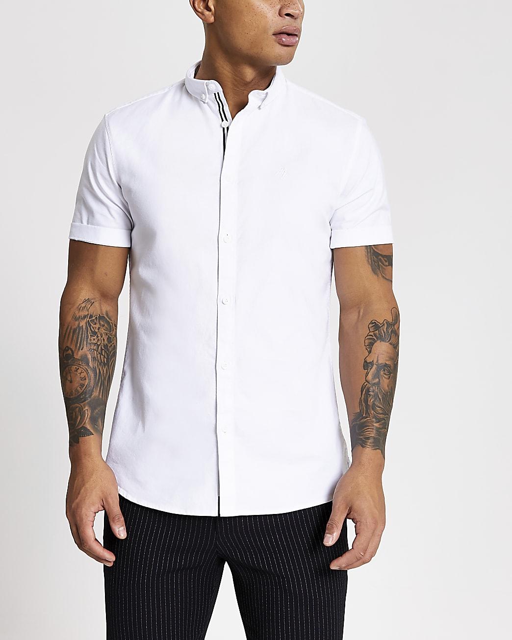 Maison Riviera white slim short sleeve shirt