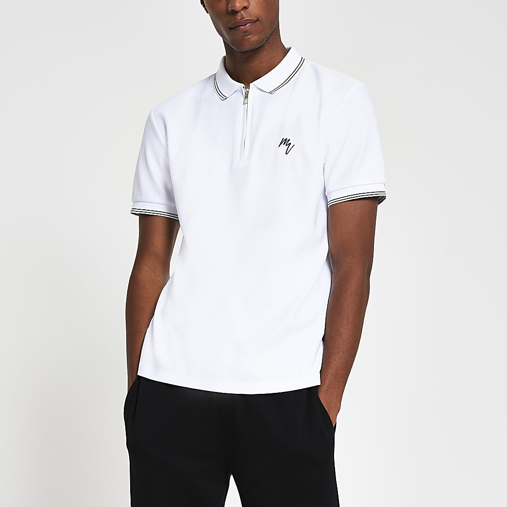 Maison Riviera White Slim Tipped Collar Polo