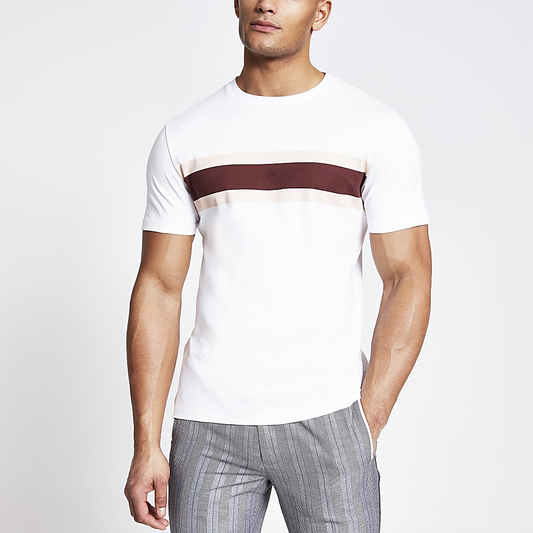 Maison Riviera white stripe slim fit T-shirt