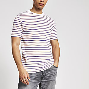 Maison Riviera – Weißes T-Shirt im Slim Fit mit Streifen